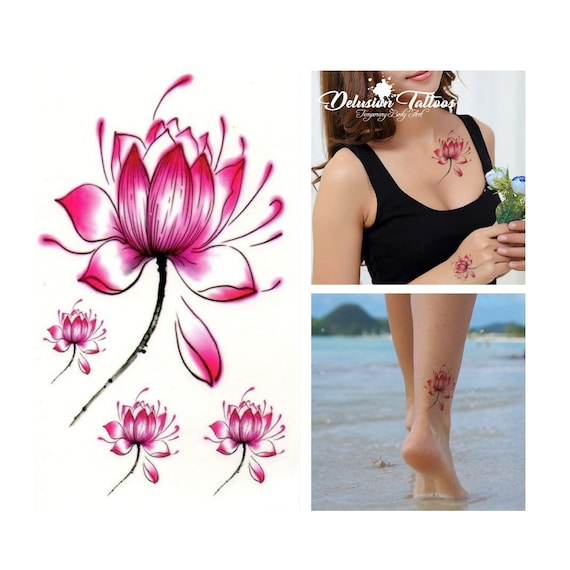 Pink lotus flower temporary tattoos set of 4 ear neck etsy image 0 mightylinksfo