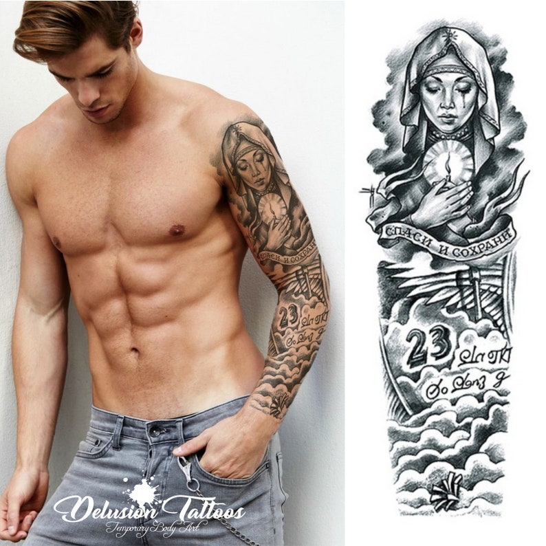 Full Sleeve Realistic Temporary Tattoo Beckham Angel 23 Etsy
