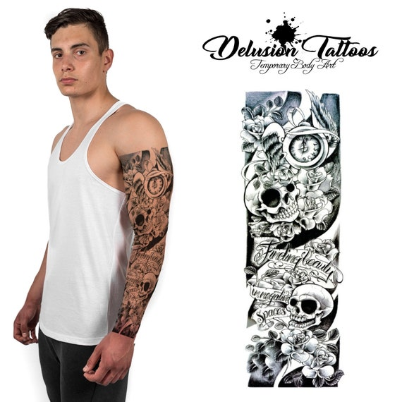 17fdcb4d2dfc9 Full arm sleeve temporary tattoo finding beauty in negative | Etsy