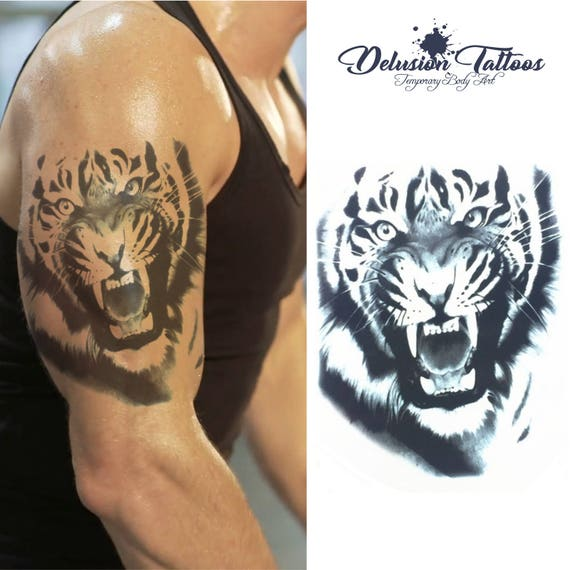 Angry Tiger Roar Temporary Tattoo Shoulder Half Sleeve Etsy