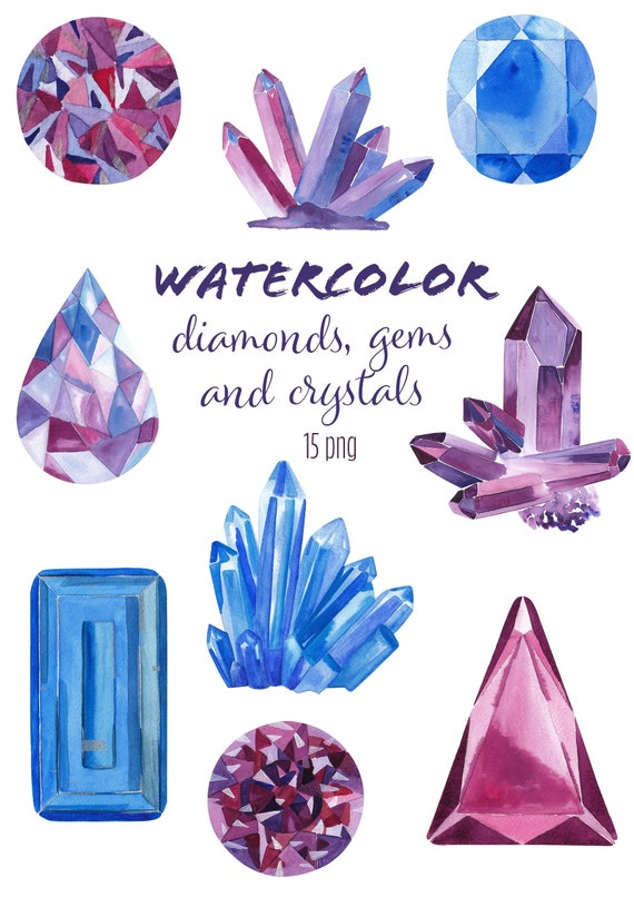 Graphic Resources Jewels clipart gems clipart crystals digital gemstones minerals rocks Hand Drawn watercolor diamond crystal
