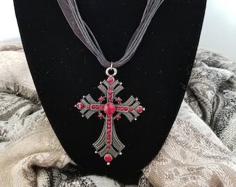 Red Renaissance Cross Necklace