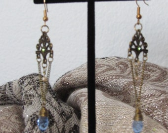 Drop Blue Jewel Earrings
