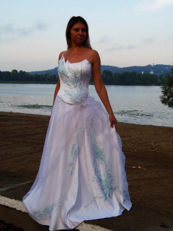 Blue wedding dress Open back Two piece
