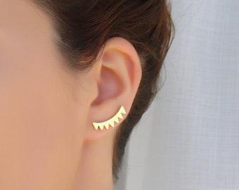 Triangle Ear Climbers/ Ear crawler earrings/ Silver ear climbers/ Cuff earrings/ Brides earrings/ Gold Ear crawler/ Bridesmaid gift