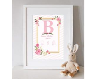Baby Girl personalised print