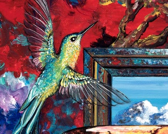 14. Sylth Hummingbird & Raku Pot 11x14 Signed Print / Bird animal nature print. Bird and Teapot art, teapot, bird original Montana artist