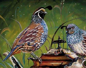 7. California Quails and Silver Teapot 11x14 Signed Print / Bird animal nature print. Bird and Teapot art, teapot, bird Montana artist