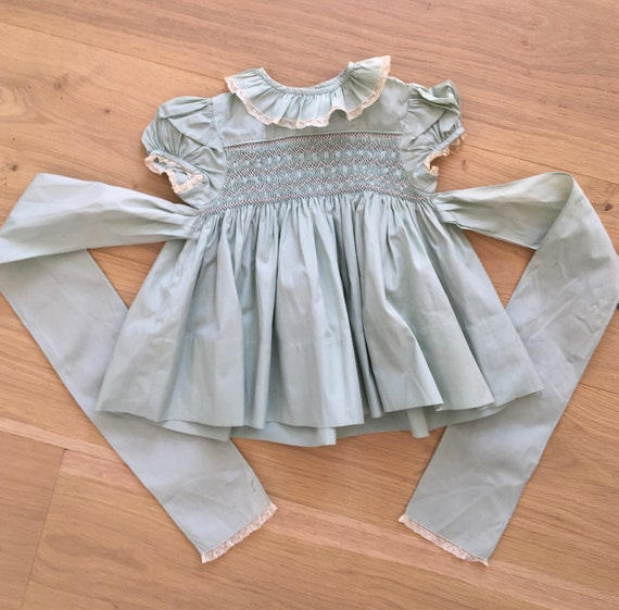 8c2f2fed8ebc Vintage Baby Dress pale Green with embroidered pink and white