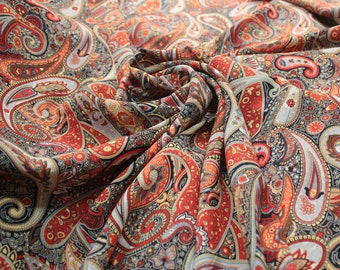 Paisley fabric cotton, Boho fabric for sewing, width 57, cotton for dress, summer fabric, buy yard, fabric for skirt-1 / yard