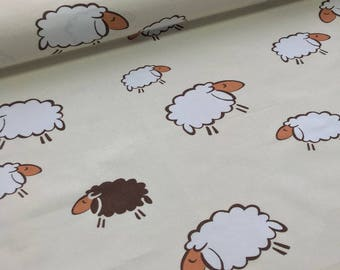 Lamb,beige,cotton, width 1.6 meters, home decor fabric, quilting fabric,Owl cotton fabric-0.5 / meter