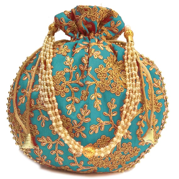 Wholesale Lot Of 100 Indian Handmade Women/'s Embroidered Potli Purse Bag Pouch Drawstring Bag Wedding Favor Return Gift For Guests Free Ship