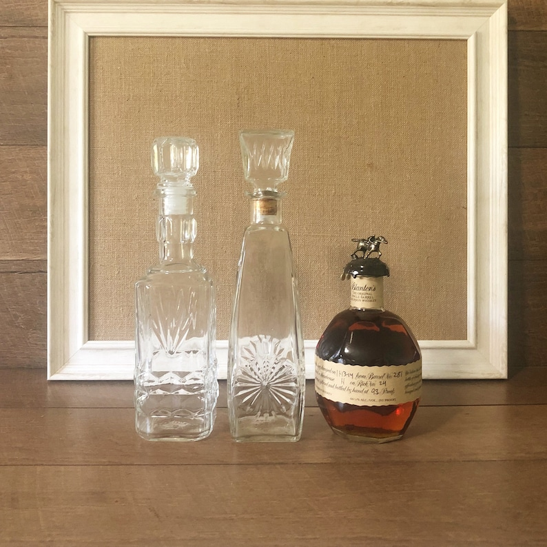 Vintage Glass Decanters Bourbon Decanter Whiskey Decanter Bar Bottles Home  Cocktails Gift For Him Barware Cork Stopper Happy Hour Bar Cart