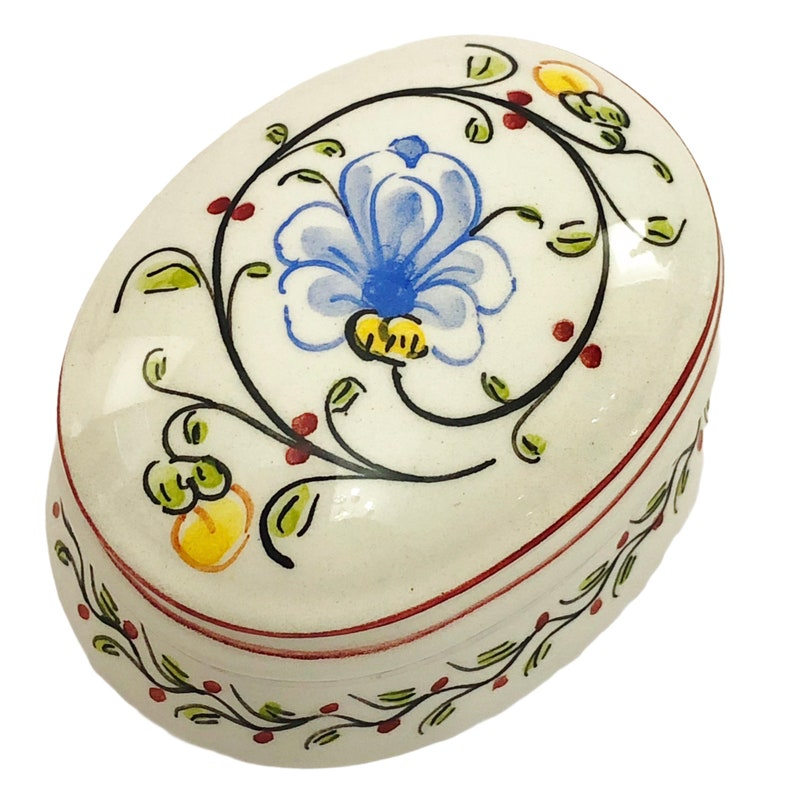 Portuguese Porcelain Box With Lid Signed ANFORA AGUEDA Hand Painted Blue Flowers Oval Ceramic Trinket Box Made In Portugal Stashbox