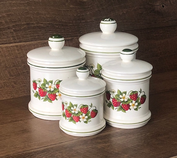 Country Kitchen Set of 4 Canisters Strawberries White Flowers Shabby Chic  Ceramic Cookie Jar Retro Farmhouse Kitchen Fruit Gift For Her