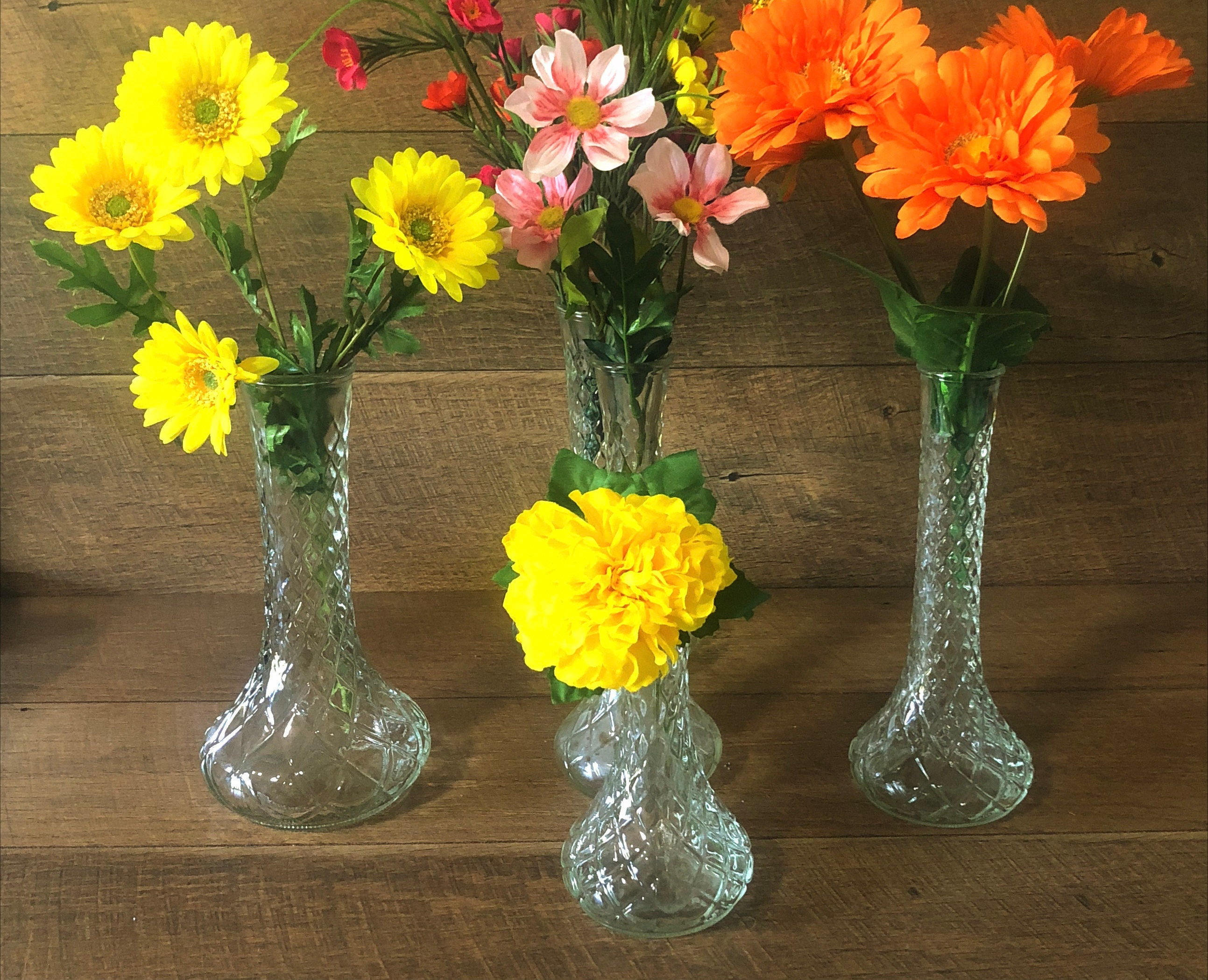 Shabby Chic Clear Glass Bud Vases Wedding Flower Holders Party Etsy