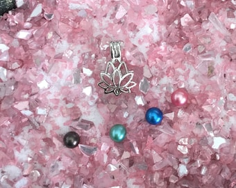 Lotus Flower shaped Oyster Cage -  DIY - Open your own oyster - Pearl Oyster Opening - Silver Plated