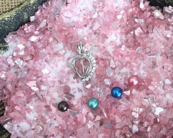Balloon with crystal shaped Oyster Cage -  DIY - Open your own oyster - Pearl Oyster Opening - Silver Plated