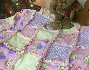 Kittens Flannel Baby Quilt - Free Monogramming and Shipping!!