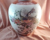 Vintage 9.5 quot Satsuma peacock vase. made in japan