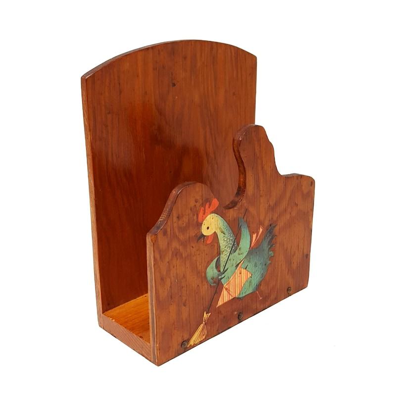 Vintage Rustic Wooden Sweeping Chicken Mother Hen Mail Napkin Holder