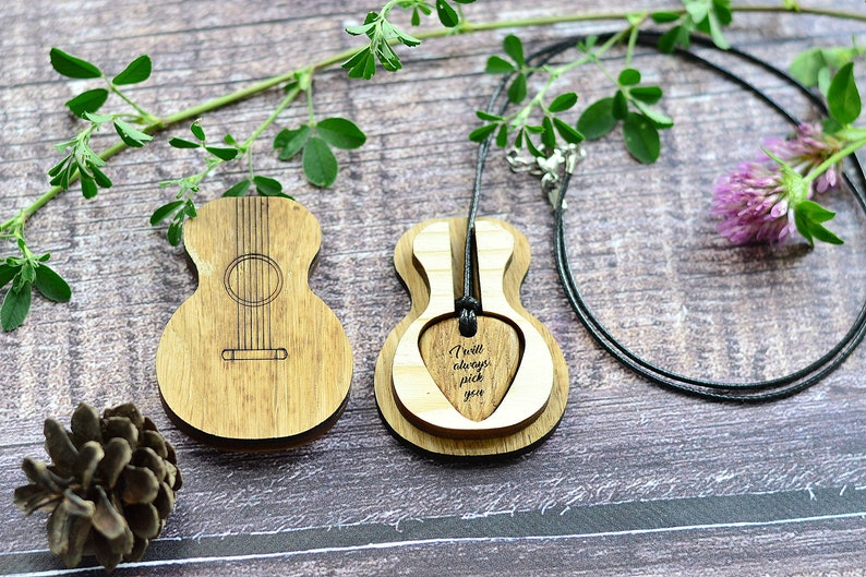 ddc920a6d51 Personalized Guitar Pick Necklace for Him with Holder Box | Etsy