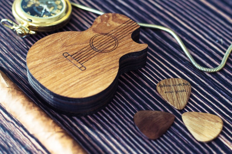ea22c2fb454 Custom Guitar Pick BoxPersonalized Plectrum Case For Pick | Etsy