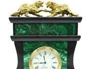 Mantel clock (Fireplace clock) of stone Malachite and Dolerite with bronze figurine Tigers