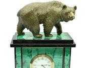 Mantel clock (Fireplace clock) of stone Malachite and Dolerite with bronze figurine bear