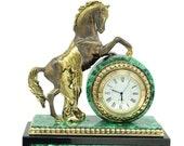 Mantel clock (Fireplace clock) of stone Malachite and Dolerite with bronze figurine Horse