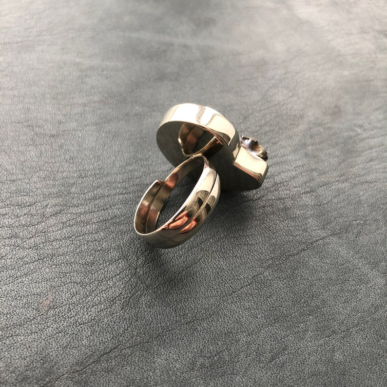 Ring witn pyrite Ammonite Dimensionless   Frame Nickel Silver Look video on Youtube
