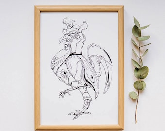TixiT Rooster A4 Art Prints, Instant Download.
