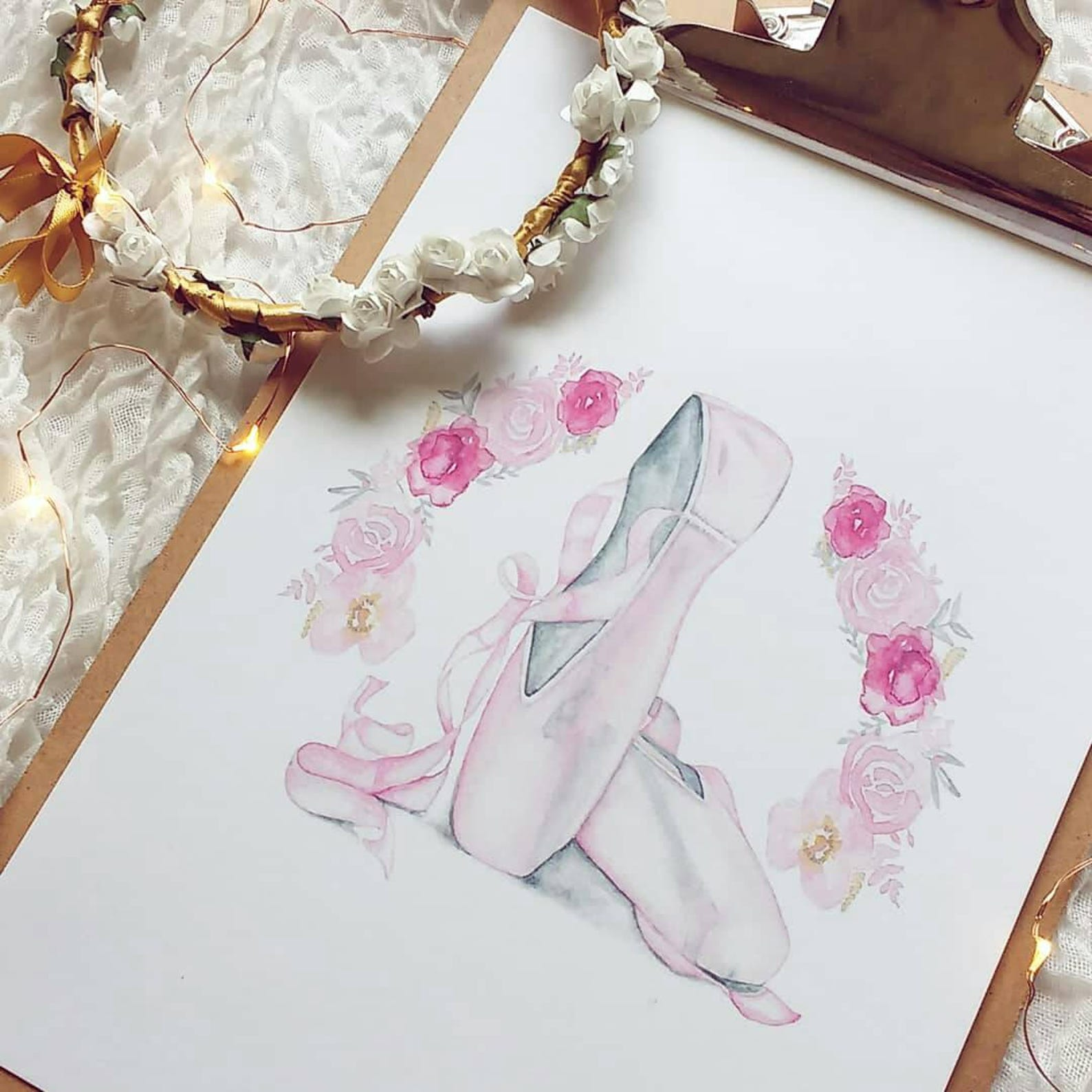 ballet shoes fine art print girls children pink painting watercolour drawing sketch art giclee illustration modern scandi dance