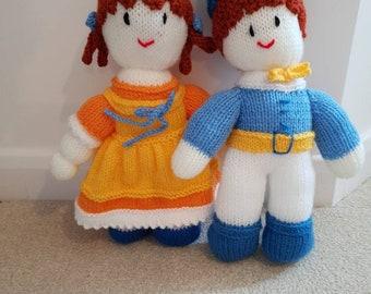 Hand knitted Annabel + Edward dolls