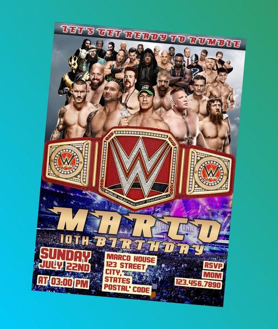 Wwe birthday party invitation wwe wrestling digital party filmwisefo