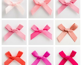Pretied ribbon bow50100150200 blue Satin Ribbon Bows Applique  Fabric Bow Card Making Scrapbooking Small Tiny Bows