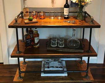 Rustic Industrial Chic Bar Cart