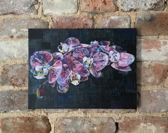 Pink Orchids, Original Wall Art, 12 x 8 Canvas, Mixed Media, Linocut, Gift