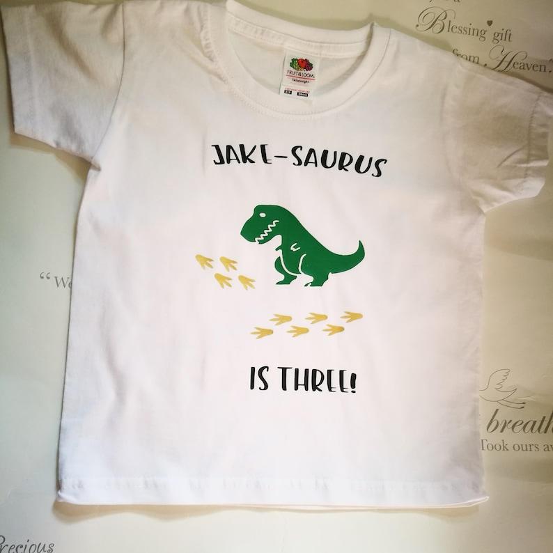 f3b58fb07 Personalised Birthday t-shirt Dinosaur t-shirt kids tees | Etsy