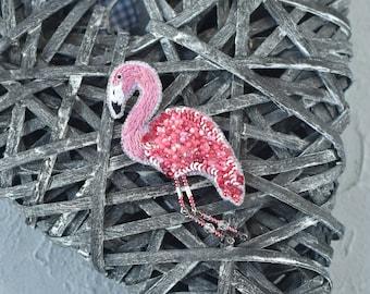 Beaded brooch flamingo brooh pink flamingo brooch bird alice in wonderland