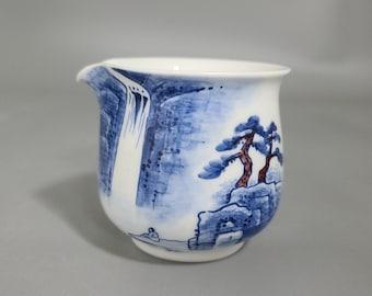 Handmade Korean Chunghwa Baekja White Porcelain Fair Cup, Tea Pitcher - Waterfall & Pine Trees, Gong Fu Cha, Tea Ceremony