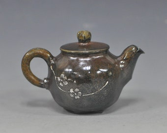 Handmade Wood-fired Korean Natural Glaze Ceramic Teapot with Plum Blossom
