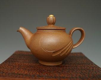 Handmade Korean Swirl Pattern Ceramic Tea Pot, Wood-Fired, Gong Fu Cha, Tea Ceremony