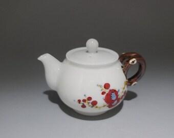 Handmade Korean Chunghwa Baekja White Porcelain Ceramic Teapot - Plum Blossoms
