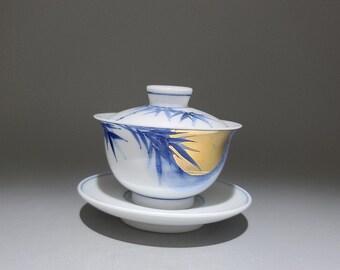 Handmade Hand-painted Korean Chunghwa Baekja White Porcelain Ceramic Teapot - Golden Moon and Bamboo
