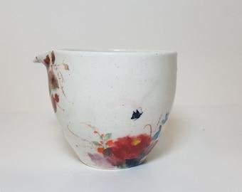 Handmade Hand-painted Korean White Porcelain Fair Cup (Tea Pitcher) -  Camellia Flower & Butterfly