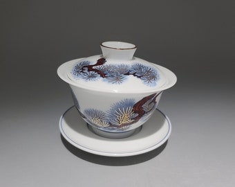 Handmade Korean Chunghwa Baekja White Porcelain Gaiwan Tea Pot - Golden Pine Tree, Gong Fu Cha, Tea Ceremony