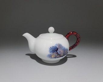 Handmade Korean Chunghwa Baekja White Porcelain Ceramic Teapot - Golden Pine Tree