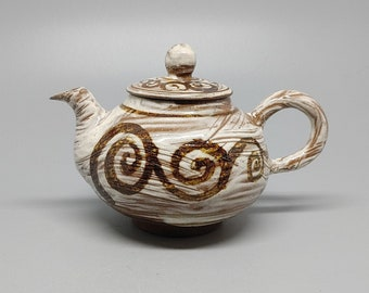 Handmade Wood-fired Korean Chulhwa Iron-Painted Buncheong Tea Pot