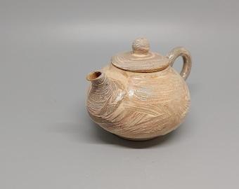 Handmade Wood-Fired Korean Gwiyal (Hakeme) Buncheong Teapot